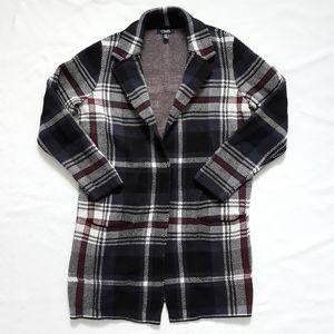 Chaps 100% Cotton Plaid Knit Long Cardigan Sz SP